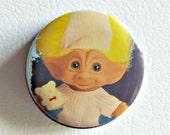 Pinback Button Vintage Troll Pin Back Button Bedtime Troll