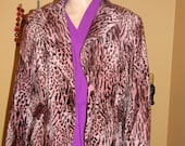 90S GRUNGE Cheetah coat. jEAN Harlow . VOGUE velour jacket.Brown and pink print coat. dress coats.wraps