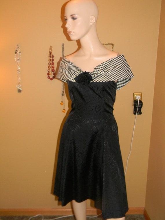 1950s Houndstooth Vintage Dress Black Taffeta Shoulderless