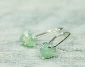 Small Heart Earrings, Crystal Earrings, Small Earrings, Swarovski Earrings, Light Mint Green, Gift For Girlfriend, Gift For Daughter