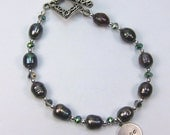 "Bracelet of Blue Green Freshwater Pearls Peacock ""Pearls of Hope for Haiti"" Freshwater Pearl and Crystal Bracelet"