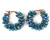 Electric Blue Hoop Earrings, Blue Zircon Swarovski Crystal Copper Hoop Earrings,  Lots of Sparkle