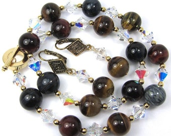 Multi Colored Tigereye Gemstone and Swarovski Crystal Necklace and Earring Set