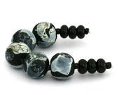 Set of Round Lampwork Beads in Black and Ivory by Gallowaybeads