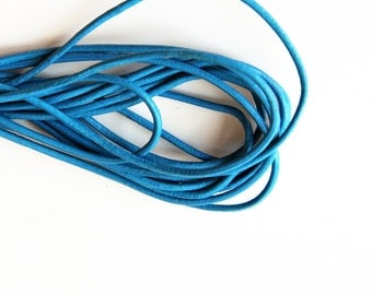 Greek Leather Cord, Blue Leather Cord, Blue Greek Leather Cord 2mm 1m- 1 yard S 40 057