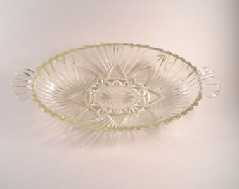 Beautiful Vintage  Relish Dish with a lovely design on the bottom Clear