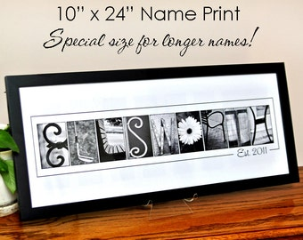 Custom Wedding Gift LAST NAME in Alphabet Photography B&W  Photo Letters 10x24 Print (unframed)  for Longer Names
