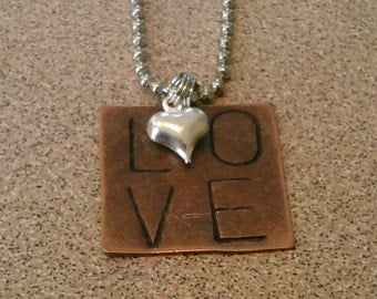 LOVE hand stamped necklace with heart charm