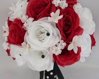"""17 Piece Package Wedding Bridal Bride Maid Of Honor Bridesmaid Bouquet Boutonniere Silk Flower RED BLACK Polka Dot """"Lily Of Angeles"""" REWT09"""