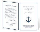 Wedding Program Template Printable - INSTANT DOWNLOAD - Anchor