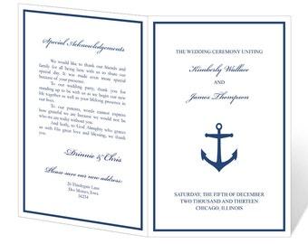 Wedding Program Template Printable - INSTANT DOWNLOAD - Anchor
