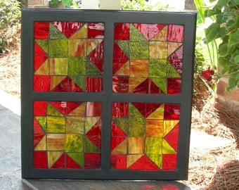 Mosaic Stained Glass Window Outdoor Art Quilt