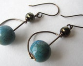 Handcrafted Antique Bronze and Teal Blue Ceramic Beaded Dangles