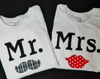Mr and Mrs honeymoon white shirts with mustache and red lips applique HIS and HERS original couples wedding gift or shower gift