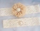 Taupe Wedding Garter, Bridal Garter, Wedding Garter Set with Toss Garter Chiffon Ballerina flowers