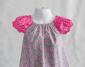 Girl's Infants Toddlers Peasant Dress - Gray and Pink Floral