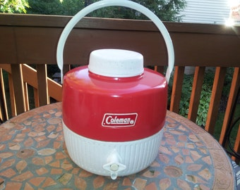 Vintage Fire Engine Red Coleman Picnic Thermos
