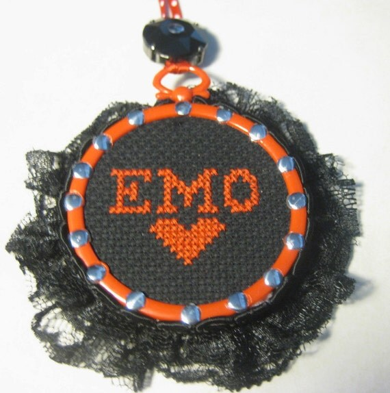 Emo -  Mini Framed Cross Stitch