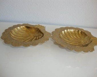 Brass Scalloped Shell Ash Trays, Trinket Dish, Two Footed Ornate trays, Organizer Tray