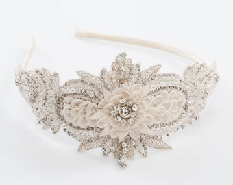 wedding headband, Bridal beded headband, wedding hair, ivory headband - IRIDIA