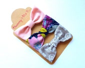 Pink, Grey, and Purple Fabric Bows -- Set of 3 Trendy Boutique Fabric Hair Bows