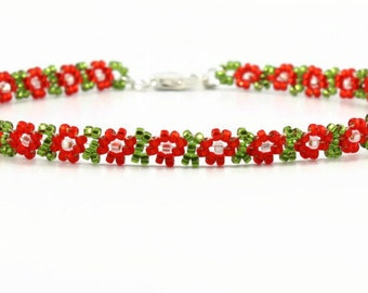 Beaded Anklet - Bead Ankle Bracelet - Daisy Chain Jewelry - Seed Bead Jewelry - Red Green Anklet - Dainty Anklet