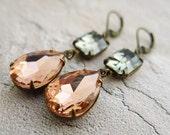 Peach Earrings Gray Earrings Estate Vintage Style Earrings Drop Earrings Wedding Jewelry