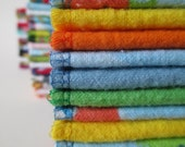 Reusable Cloth Wipes Pack of 16--Rubber Ducky--2 Ply Flannel--Regular--Ready To Ship