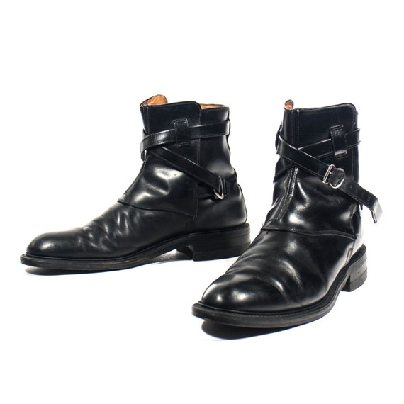 Vintage Motorcycle Ankle Boots Wrap Around Buckle Strap Mod