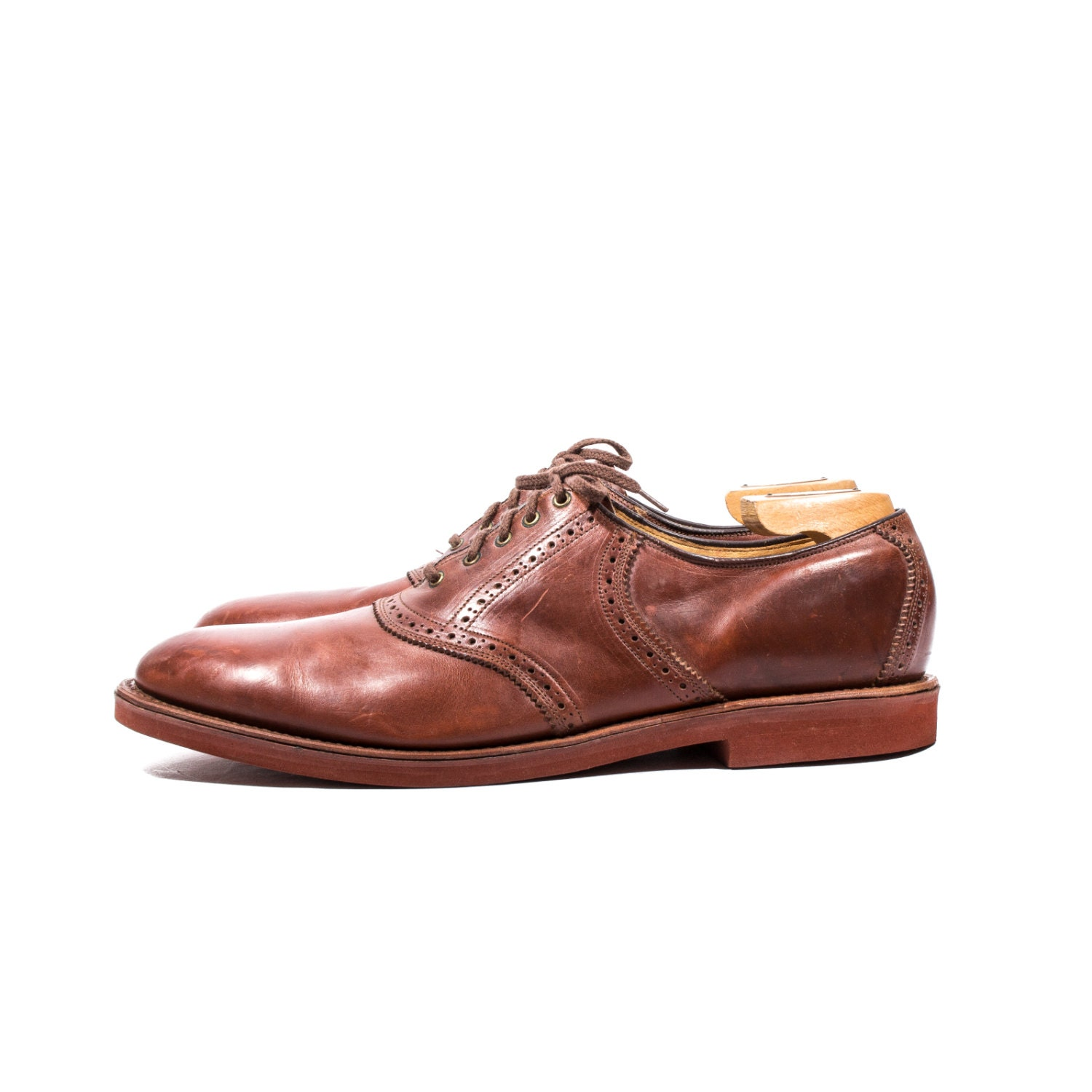 s vintage bostonian lace up saddle shoes cherry brown