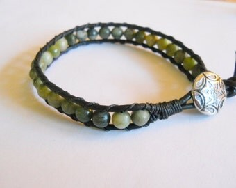Boho, Stacking bracelet, Leather Wrapped Bracelet, green jasper 6mm beads, black 2mm leather