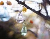 Outdoor Decor, Hanging Glass Vase, Hand Blown Glass Art, Transparent Clear Glass, Wall Decor, Wall Art