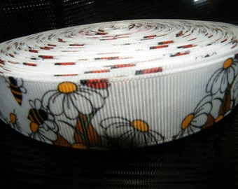 "7/8""Bees and Daisies grosgrain  5 yards"