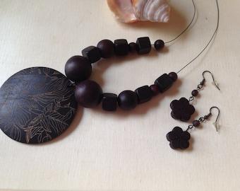 Castaway Wooden Beaded Necklace & Earring Set