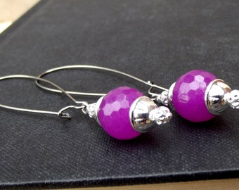 Purple and Silver Dangle Earrings, Radiant Orchid Earrings, Long Beaded Simple Everyday Candy Jade Earrings