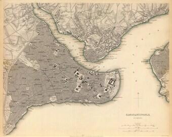 Vintage Map - Istanbul, Turkey - 1844