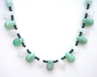 Turquoise Blue Amazonite Necklace, Rose Quartz Necklace, Amazonite Teardrop Briolettes