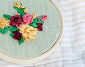Floral Silk Ribbon Embroidery Hoop, Embroidered Flowers Wall Art Hanging 4in