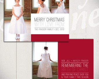 Christmas Card Template: Born in Bethlehem C - 5x7 Holiday Card Template for Photographers