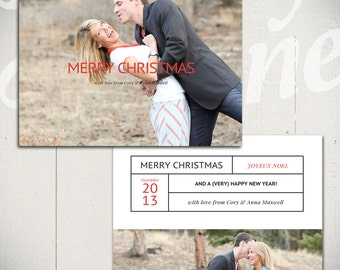 Christmas Card Template: Glory A - 5x7 Holiday Card Template for Photographers