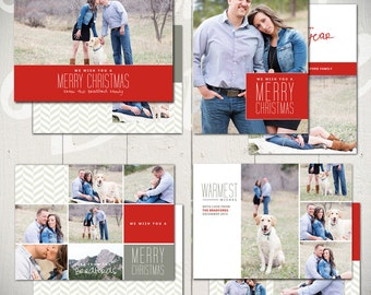 Christmas Card Templates: Warmest Wishes - Set of Four 5x7 Holiday Card Templates for Photographers