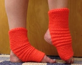 Yoga Socks in Flame Orange Acrylic -- for Dance, Yoga, Pedicures, Pilates.