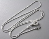 CHAIN-SLVR-BALL-1x18IN - Premium Silver Plated Ball Chain, 1mm , 18 inch long, Finished Chain - 5 pcs