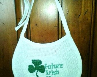 Completed Counted Cross Stitch Baby Bib - Future Irish King Lucky Shamrock Baby Bib
