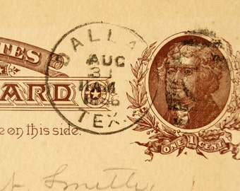 Vintage / Antique Post Card to Chas. N. Smith, Grand Lodge of Texas Freemason Dues (August 28, 1886) - Collectible, Paper Ephemera