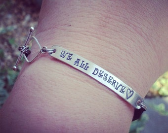 Personalized Hand Stamped Silver I.D. Bracelet on Genuine Leather
