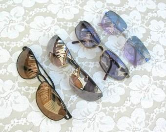 4 pairs vintage sunglasses - all black, used