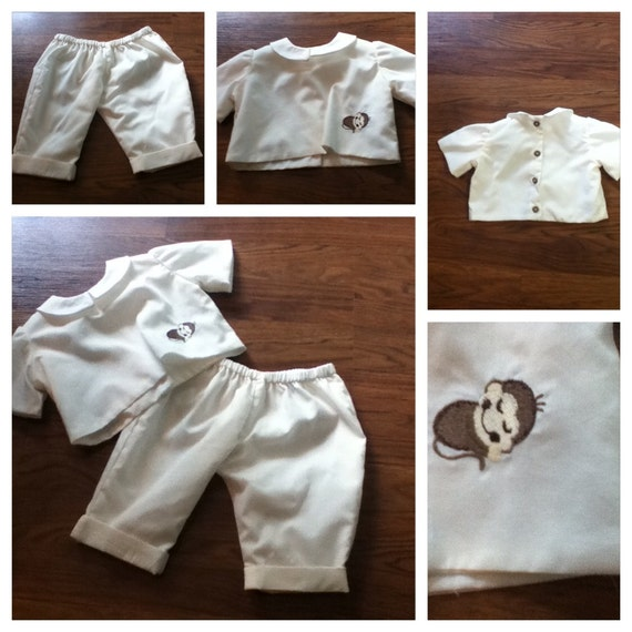 Baby Boy 2 Piece Cream/Tan Outfit Size 0 to 3 months(fabric choices available)