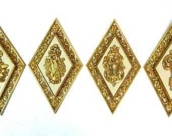 vtg set of 4 dart industries wall hangings cream metallic gold tone music floral key lock diamond shape made in u.s.a, free u.s. shipping