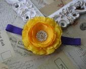 Baby Headbands..Baby Girl..Baby Headband..Baby Flower Headband..LA Lakers Yellow and Purple Color Headband..Los Angeles Lakers..NBA Headband